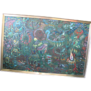 Original Jack McLarty Large Dark Gardens Signed Surreal Painting 1963