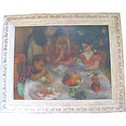 Original Signed Painting Lily Harmon Painting of Children Christmas Party Dinner