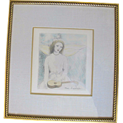 French Hand-colored Marie Laurencin 1885 -1956 Young Girl w/Guitar Etching
