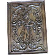 THE VIRTUES 17th Century Carved English Oak Figural Panel Man Pouring Wine