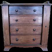 Antique c1890 American Empire Mahogany Diminutive 4 Drawer Campaign Chest