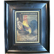 SOLD Antique FRENCH 19th Century Framed Oil Painting of ROOSTER & Hen