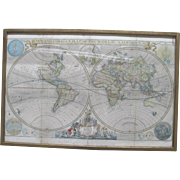 Framed HERMAN MOLL Large Hand Colored New & Correct Map of the World c1700's