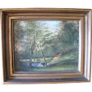 Antique Early 19th Century Landscape Fishing Small Forest Scene Oil Painting