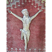 17th Century Portugal Carved Limewood Crucified Jesus Christ Wall Hanging
