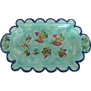Antique Turquoise Blue Majolica Dish Tray w/Colorful Leaves & Scalloped Edge