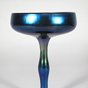 Blue Steuben Aurene compote