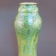 Unsigned King Tut Iridescent Art Glass Vase - Tiffany Favrile Quality