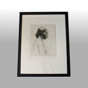 "John M. Kelly ""Chinese Hawaiian"" Signed, framed drypoint"
