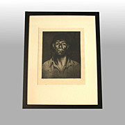 "John M. Kelly ""Hawaiian Soldier No. 5"" Signed, framed drypoint etching"