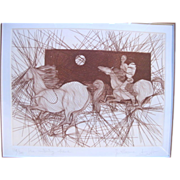 SALE Signed Limited Edition Sketch Art Print MISSING BRAVE by Guillaume Azoulay
