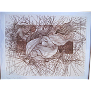 SALE Signed Limited Edition Sketch Art Horse Print THE FALL by Guillaume Azoulay