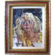 Gary Schildt Portrait of a Blonde Haired Girl Original Acrylic Painting on Canvas