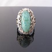 Amazonite Ring in Ornate 14k White Gold