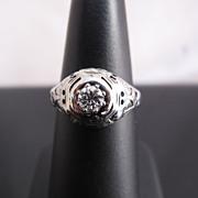 Deco c1920 Diamond Filigree Ring in 18k White Gold