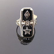 SOLD Vintage Masonic Order of the Easten Star Ring in 14k with Diamond