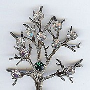 SALE Vintage Sterling Gold wash Vermeil Multi Colored Rhinestone Covered Tree of Life Brooch .