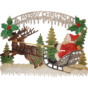 SALE Santa on Sleigh with Reindeer - A Merry Christmas – Christmas Decoration German made