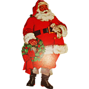 SALE 1950's lithographed Santa Claus cardboard cutout Christmas decoration Dennison Company