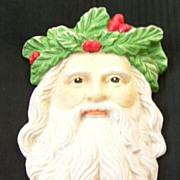 SALE Vintage Bisque Santa Head Christmas Decoration