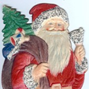 REDUCED Medium Standing Santa with a Bell Nostalgic Christmas Embossed die-cut ~ 1930's ...