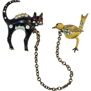 REDUCED Adolph Katz designed Cat & Canary chatelaine brooch set Coro Company 1940's