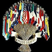 SALE Patriotic - Amigos Siempre Flags of the Americas brooch - designer L. GABA for Coro ...