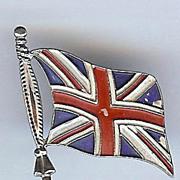 SALE 1950's Coro British Union Jack Flag Brooch
