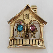 SALE Vintage Coro 'Forecast' Weather House Pin 1947