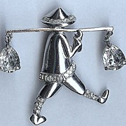 "REDUCED Coro Pegasus sterling ""Chinese Water Carrier"" Brooch/Pin – Adolph Katz 1940s"