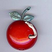 SALE Vintage Coro Red Enamel Apple with Snake Trembler Brooch/pin