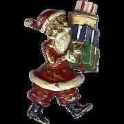 REDUCED Vintage DeNicola Brooch depicting Santa Claus bearing Christmas Gifts cute!