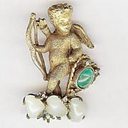 REDUCED Vintage De Nicola Cherub/Cupid brooch Very nice!