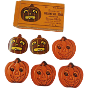 SALE Halloween decoration gummed seals depicting a Scary Jack O Lantern Pumpkin - Dennison ...