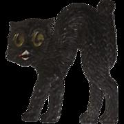 SALE Medium size Scary arched back Black Cat cardboard Halloween decoration German 1920's