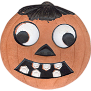 SALE Smaller size Jack O Lantern pumpkin with hair & toothy grin German made die cut 1920's
