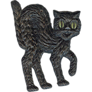 REDUCED Small cardboard Black Cat Halloween decoration German 1920s Right facing