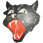 SALE Medium size snarling black Cat face die cut made by Dennison Company 1927