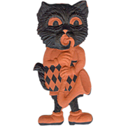 SALE Small size painted cardboard die cut Black Cat playing Saxophone Halloween decoration Ger