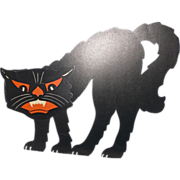 REDUCED 3D Halloween Black Cat table decoration USA Beistle H.E. Luhrs mark 1930's & 1940'