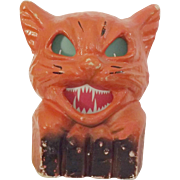 REDUCED Halloween decoration pulp Paper Mache Cat on fence Jack O Lantern USA 1930s