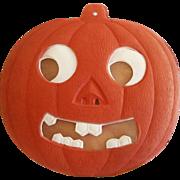 REDUCED Spooky Jack O Lantern with transparency German cardboard die cut Halloween decoration