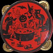SALE Halloween Celebration Dunking for Apples tin Tambourine Halloween decoration J. Chein USA