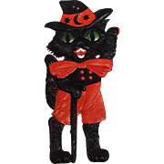 SALE Large Halloween decoration Waving Black Cat with Walking Stick heavily embossed die cut â