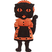 SALE Medium size painted cardboard die cut Black Cat playing Saxophone Halloween decoration Ge
