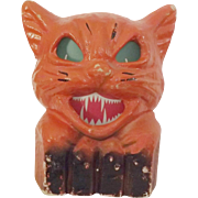 SALE Halloween decoration pulp Paper Mache Cat on fence Jack O Lantern USA Nice