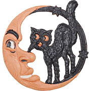 SALE Small Crescent Man in the Moon with Standing Cat Halloween decoration – German 1920s