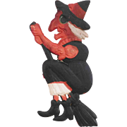 SALE Small flying Witch cardboard Halloween decoration – German 1920s