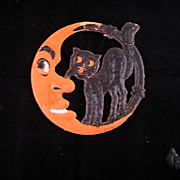 SALE Small size Scary Crescent Moon with Black Cat German cardboard die cut Halloween decorati