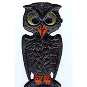 REDUCED Small cardboard Black Hoot Owl Halloween decoration German 1920s